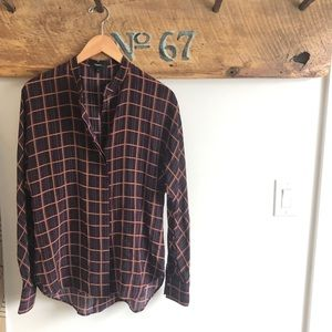 Theory checkered button up blouse